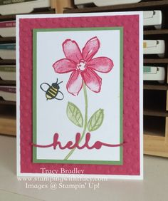 Handmade card by Tracy Bradley using the stamp set Garden in Bloom by Stampin' Up! and the Greetings Thinlits.  www.stampingwithtracy.com