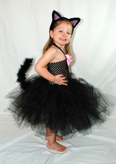 Black Cat Tutu Dress Costume by Kenzie's Treasures. The Tail is removable so it can be just a black dress too!