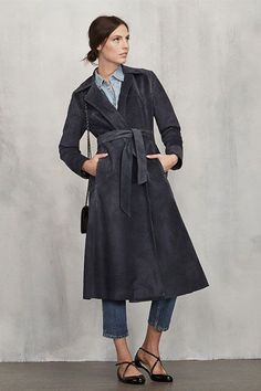 An all-suede trench to wrap on like a second skin. #refinery29 http://www.refinery29.com/warm-dressy-coats#slide-3