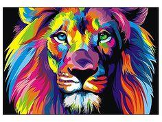 CANVAS Banksy Street Art Print RAINBOW LION PAINTING 70cm X 55
