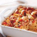 Smoked Salmon and Goat Cheese Strata recipe - Canadian Living Fish Recipes, Seafood Recipes, Goat Cheese Quiche, Strata Recipes, Best Brunch Recipes, Seafood Soup, Brunch Menu, Smoked Salmon, Main Dishes