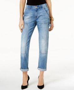 Michael Michael Kors Cropped Classic Wash Carpenter Jeans - Blue 6