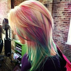 cotton candy layered hair