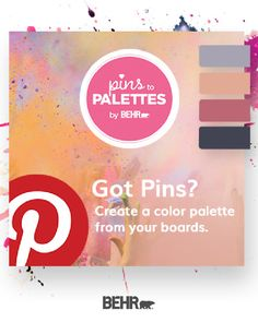 Turn your Pinterest inspiration into reality with the Pins to Palettes tool from Behr paint. Use your favorite Pinterest boards and Pins to create a custom paint color palette for all your DIY home makeover needs. Click below to get started.