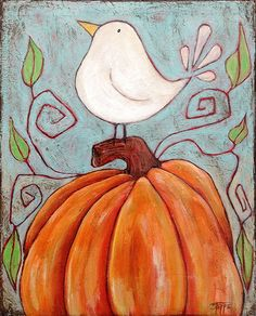 Winter is right around the corner and so are the holidays. Pumpkin Pal is an original acrylic painting on an 8x10 canvas with painted sides to hang as is