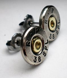 Items similar to 38 Special Remington Nickel Thin Cut Nickel Bullet Head Stud Post Earrings Bullet Jewelry Steampunk on Etsy Shotgun Shell Jewelry, Bullet Jewelry, Rock Style, My Style, Girl Sweat, 38 Special, Bullen, Rustic Cuff, Punk Rock Fashion