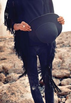 i love a black shawl and bohemian hat.