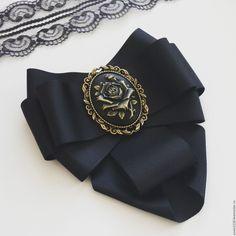 """Купить Брошь - галстук """"Черная роза"""" - черный, брошь, брошь ручной работы"""