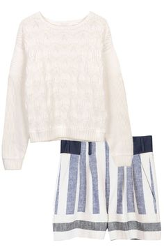 ICB Honeycomb Stitch Knit and Tibi Blanket Shorts - It's maritime! Shop nautical styles for Memorial Day Weekend: http://www.harpersbazaar.com/fashion/fashion-articles/nautical-summer-apparel