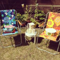 My vintage deck chairs and Orla Kiely picnicware!