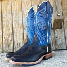 These new Anderson Bean men's ostrich cowboy boots are exceptionally comfortable, unique, and stylish. They feature a black ostrich square toe vamp, a gorgeous blue shaft with ivory stitching. The ins