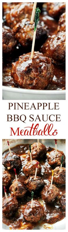 Pineapple Barbecue Sauce Glazed Meatballs - Delicious, juicy, homemade meatballs prepared with a sweet and tangy pineapple barbecue sauce. (For pre-made frozen meatballs just thaw first and start @ step Meatball Recipes, Meat Recipes, Appetizer Recipes, Appetizers, Cooking Recipes, Receta Bbq, Glazed Meatballs Recipe, Snacks Für Party, Bbq Party