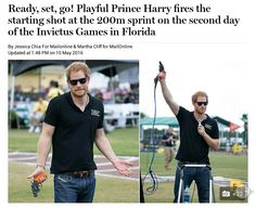Ready, set, go! Playful Prince Harry fires the starting shot at the 200m sprint on the second day of the Invictus Games in Florida