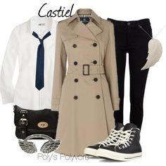 """""""Cas"""" by polyspolyvore on Polyvore -- I really need to keep an eye out for a coat at Goodwill/Savers. The rest is easy. :)"""