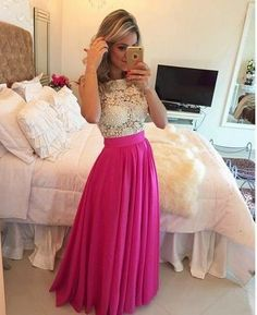 Ivory Lace Hot Pink Skirt See Through Long Prom Dresses Evening Dress Party Gowns Pink Prom Dresses, A Line Prom Dresses, Formal Dresses For Women, Cheap Prom Dresses, Dress Formal, Cheap Dress, Pink Gowns, Dress Casual, Formal Wear