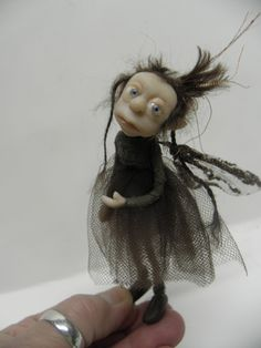 tiny ooak pose-able brown FAIRY elf pixie art DOLL by DinkyDarlings, via Etsy.