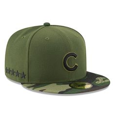 d464d5d6b Men's Chicago Cubs New Era Green 2017 Memorial Day 59FIFTY Fitted Hat