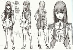 • concept art Character Design official studio trigger Sushio kill la kill Ryuko Matoi Satsuki Kiryuin the art of klk h0saki •