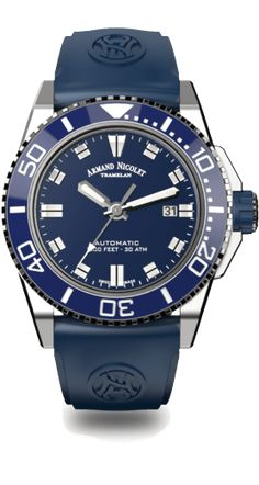 3c92c8121 JS9-44 - Stainless Steel 316L/Turning Blue Ceramic Bezel with Blue Rubber  Band