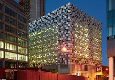 With its angular metallic exterior, the Charles Street car park in Sheffield, designed by architects Allies & Morrison, stands out against a backdrop of drab, grey office buildings, and has earned it the nickname 'cheesegrater'
