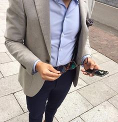 Light khaki blazer with black pants