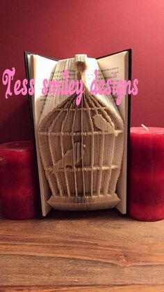 Book folding bird cage with 2 birds measure mark cut and fold