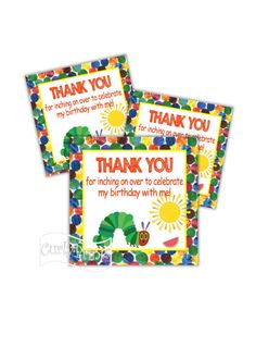 The Very Hungry Caterpillar Birthday Party Thank You Tags DIY Printable File First Birthday Outfits Boy, 1st Birthday Onesie, First Birthday Banners, Birthday Thank You, Turtle Birthday Parties, Ninja Turtle Birthday, Birthday Party Hats, Diy Birthday, Ninja Turtles