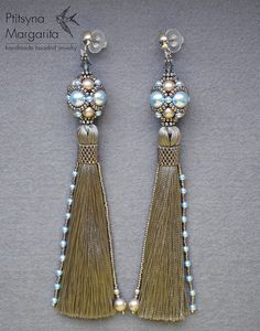 "Long tassel earrings ""Platitum + blue"", earrings with tassels, beaded earrings…"