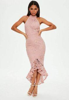 Missguided Pink Lace High Neck Fishtail Midi Dress Pink Midi Dress 0836b3bc3d3f