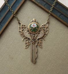 Steampunk Fairy Key Necklace with Antique by TimelessTrinkets
