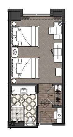 Conference Center, New Orleans Standard Double Queen Higgins Hotel amp; Conference Center, New Orleans Standard Double Queen Master Bedroom Plans, Bedroom Floor Plans, Plano Hotel, New Orleans, Hotel Design Architecture, Hotel Bedroom Design, Hotel Floor Plan, Small Bathroom Renovations, Townhouse