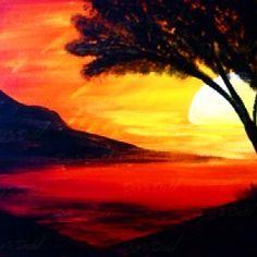 ❤️ Serene Sunset ❤️ Make Art, Sketching, Serenity, Trees, Celestial, Sunset, Studio, Drawings, Painting