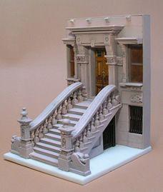 The New York Brownstone Miniature Free standing sculpture dollhous miniatur