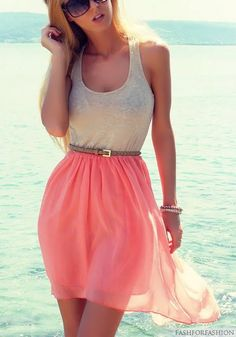 I love coral-like colours! This dress would be really cute for summer. find more women fashion ideas on www.misspool.com #summerdresses