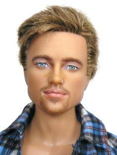 Brad Pitt Celebrity Repainted Doll by Pamela Reasor