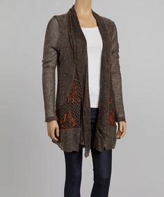 Take a look at this Nicole Sabbattini Gray & Rust Ruffle Mohair Wool-Blend Open Cardigan on zulily today!