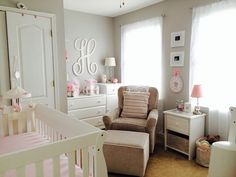 Baby Girl Nursery - gray, pink,   white
