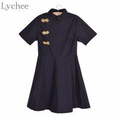 Lychee Lychee Vintage Chinese Style Cheongsam Qipao Dress Short Sleeve Gothic Lolita Slim A-Line Short Women Dress