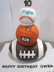 football, basketball, baseball kid's cake