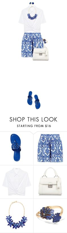 """""""Tory Burch Miller Sandals"""" by ittie-kittie ❤ liked on Polyvore featuring Tory Burch, Boohoo, T By Alexander Wang, Miu Miu, Kate Spade, Banana Republic, Marco Bicego, Summer, ToryBurch and summerstyle"""