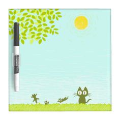Sun and Leaves and Black Cat Dry-Erase Board #DryEraseBoard #Cat #Kitten #Zazzle