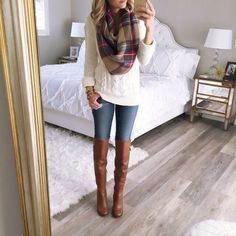 Cable knit sweater, plaid scarf, skinnies, & riding boots
