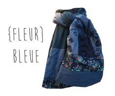 Echarpe Foulard Etole accessoire de mode pour femme bleu fleurs roses patchwork de tissus Fait Main Modèle : Echarpe, foulard, cravate par lefil