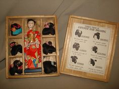 Vintage Hanako Geisha doll comes with 6 wigs and its original wooden box.    Doll measures 6 tall.    Doll has a little wear to her nose,