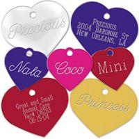 Placas Forma de Corazón Chapas personalizables para perros. Se pueden elegir la forma, el tamaño, el color y el texto. Recomendamos como mínimo grabar el nombre de su mascota y...