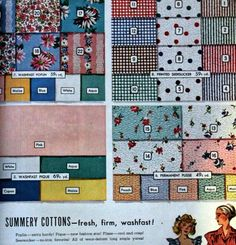 1940s Fabrics and Colors in Fashion: 1948 spring cotton fabrics in small prints, dots, checks, stripes and solids.  #1940sfashion #vintage http://www.vintagedancer.com/1940s/1940s-fabrics-colors-fashion/