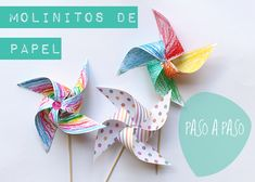 Molinillos de papel  -  Paso a paso - DIY  Papeles Pequeños Diy For Kids, Crafts For Kids, Origami, Welcome To The Party, Ideas Para Fiestas, Circus Party, Toy Craft, 1st Boy Birthday, Baby Party