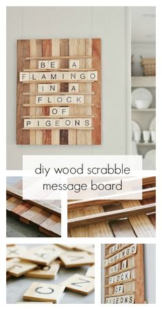 Scrabble Wood Message Board DIY Scrabble Message Board made from simple materials found at your local hobby store.DIY Scrabble Message Board made from simple materials found at your local hobby store. Scrabble Board, Scrabble Tiles, Scrabble Crafts, Wood Projects For Beginners, Diy Wood Projects, Diy Projects Simple, Wood Projects That Sell, Diy Tableau, Thistlewood Farms