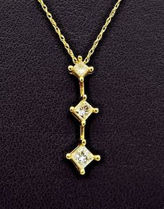 14k Solid Gold Diamond Necklace Past Present Future Pendant 1/2 Carat .50 Ct  #Pendant