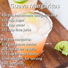 Guava Margaritas Liquor Drinks, Whiskey Drinks, Fruit Drinks, Non Alcoholic Drinks, Party Drinks, Cocktail Drinks, Cocktails, Homemade Margarita Mix, Homemade Margaritas
